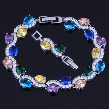 Impressive Oval Egg Multigem Multicolor Yellow Cubic Zirconia 925 Sterling Silver Link Chain Bracelet 18cm 20cm For Women V0054