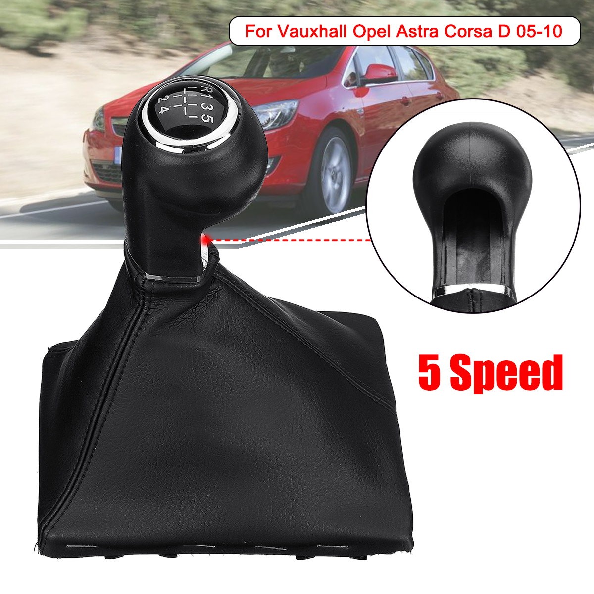 5 Speed Car Gear Shift Knob Gaiter Boot Cover for Vauxhall Opel Astra Corsa D 2005-2010