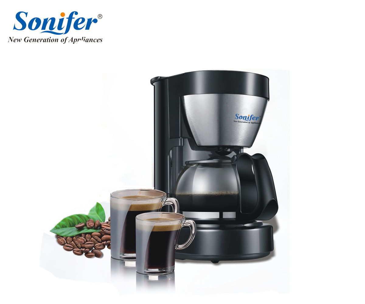 0.65L Electric Drip Coffee Maker household coffee machine 6 cup tea coffee pot 220V Sonifer coffee pattern coffee tea 6 in 1 pot cup set brown