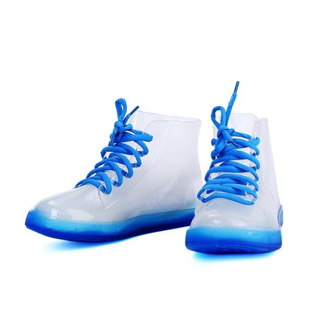Kadın Şeffaf yağmur çizmeleri Moda Kristal Fluoresc Çizmeler Kadın Moda PVC yarım çizmeler Su Geçirmez Kadın Bayanlar Rainshoes Jöle