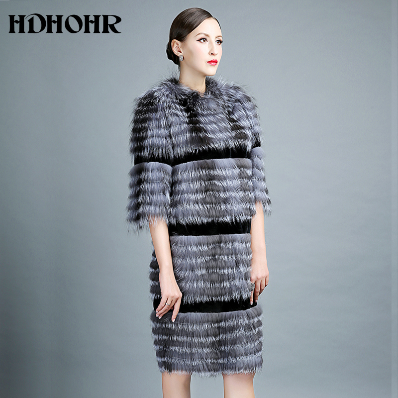 HDHOHR 2018 Silver Fox Fur Coat Winter Warm Real Fur Coats for Women Knitted Fur Jackets Long Style Natural Fur Outerwear Coats
