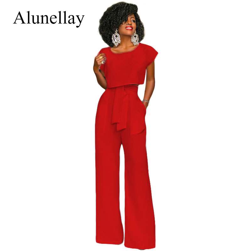 Alunellay Women Jumpsuits Rompers 2018 Summer Elegant Ladies Two Piece Outfits Bow Sashes White Wide Leg Pants Female Overalls