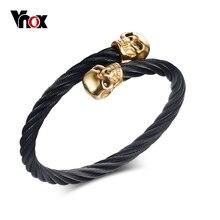 Vnox hombres cable de alambre trenzado brazalete del brazalete pulsera de cráneo punky negro esqueleto hombres pulseras