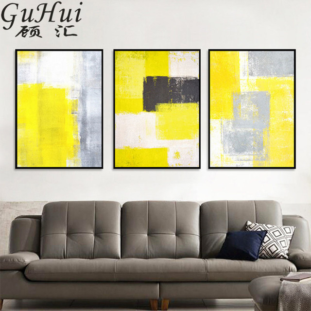Style abstrait jaune gris blanc série toile peinture salon ...