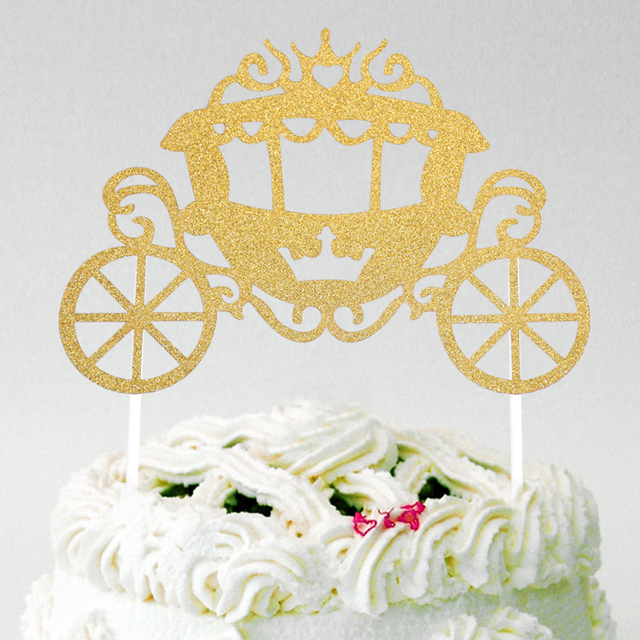 Cinderellas Pumpkin Carriage Cupcake Cake Topper Cake Flags With