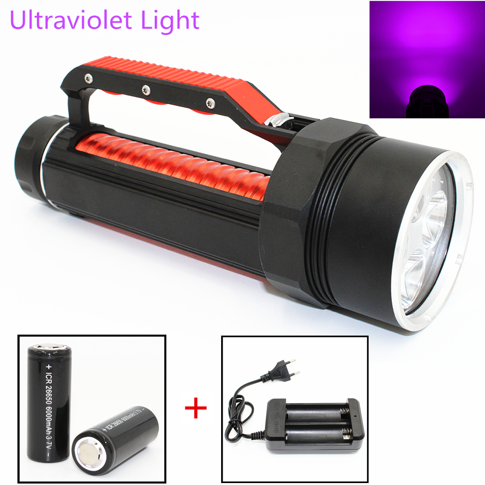 Uranusfire 20W Ultraviolet Diving Flashlight 4 UV LED Waterproof 395nm Purple Light Torch Linterna Use 26650 Battery Charger alonefire 3aa 395nm uv ultra violet blacklight 8w 51 led flashlight torch lamp light with aa battery powered