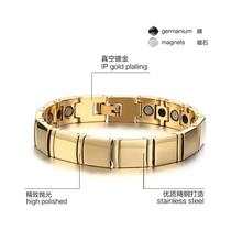 11 mm*19.3 cm Fashion men Tungsten Carbide Bracelets Tungsten Steel Energy Balance Magnetic Gold Plated Health Care Jewelry