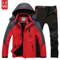 Ski Jacket Suits Men Waterproof Fleece Snow Jacket Thermal Coat Outdoor Mountain Skiing Snowboard Jacket Suits
