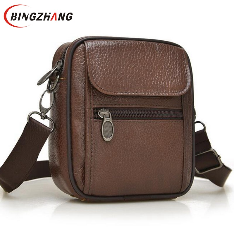 цена на 2018 Hot sale New fashion genuine leather men bags small shoulder bag men messenger bag crossbody leisure bag for men L4-2672