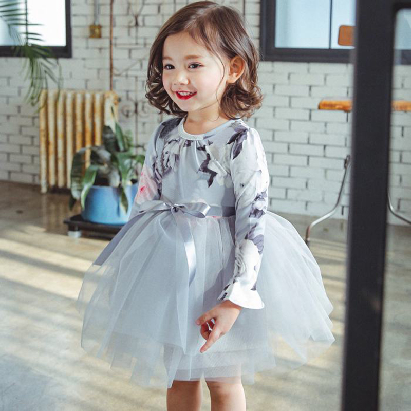 Autumn Baby Girl Princess Floral Lace Children Costume Dress For 2 4 6 8T Infant Kids Tutu Formal Causal Evening Party Wear 2016 new kids baby girl princess flower tutu dress party formal lace 2 6y