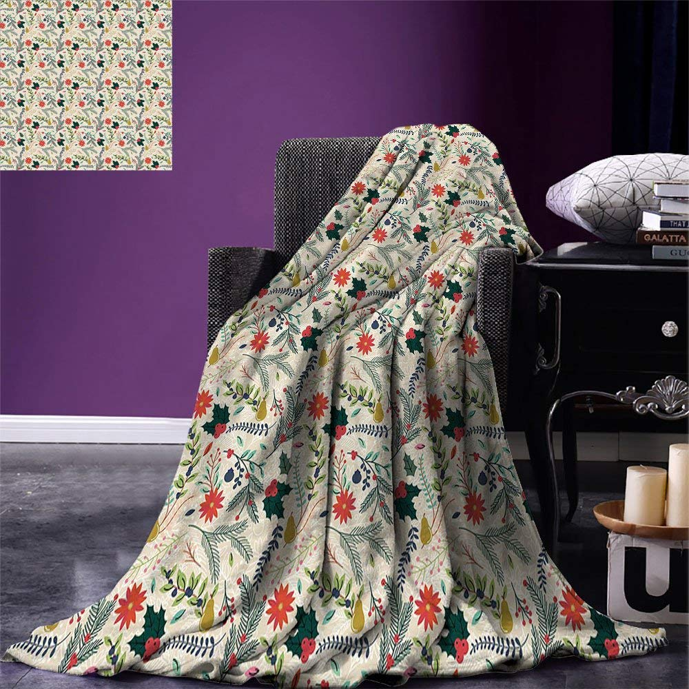 Christmas Throw Blanket.Us 19 38 41 Off Christmas Throw Blanket Floral Decorations Of Yuletide With Evergreen Leaves Poinsettia Mistletoe Pear Fleece Blanket For Bed In