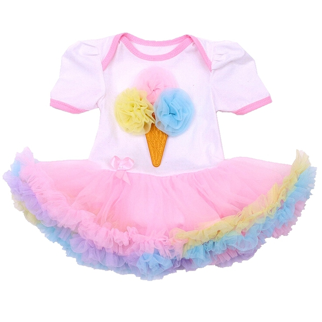 Verão 2016 Sorvete Applique Corpo Bebe Rendas Macacão de Bebê Crianças Macacões de Manga Curta Bebê Recém-nascido Roupas de Menina Infantil-roupas