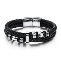 Genuine Leather Rope Bracelet Stainless Steel Punk Style Cool Men Leather Woven Bracelet Magnetic Buckle Man