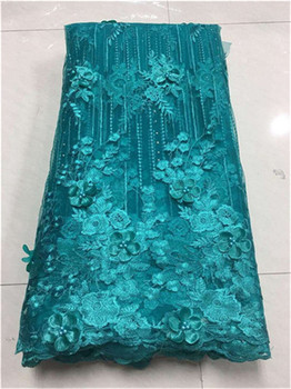 3D Flower Lace Embroidery Fabric, Latest Nigerian Lace Fabrics 2018, Luxury Lace Fabric Lilac lace For Wedding Dresses white