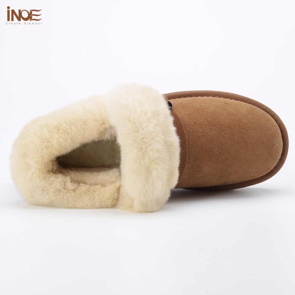 INOE koyun derisi süet deri yün kürk astarlı kadın kısa ayak bileği kışlık botlar kadın kar botları sıcak ayakkabı daireler olmayan kaymaz taban