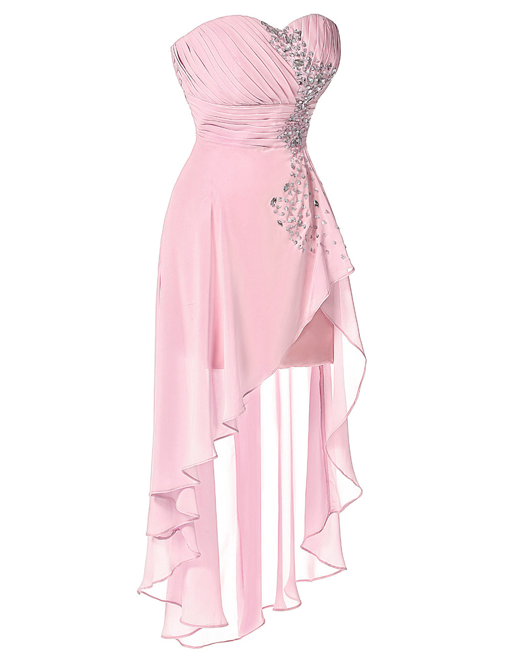 High Low Bridesmaid Dress 2017 Short Front Long Back Prom Gown Strapless Bead Sequin Pink Turquoise Bridesmaid Dress Grace Karin 9