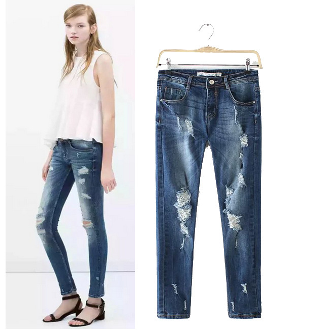 ФОТО ZA 2015 SUMMER NEW Fashion WOMEN RIPPED hole washed stretchable denim pants Female Cropped Pencil Jeans trousers Ladies
