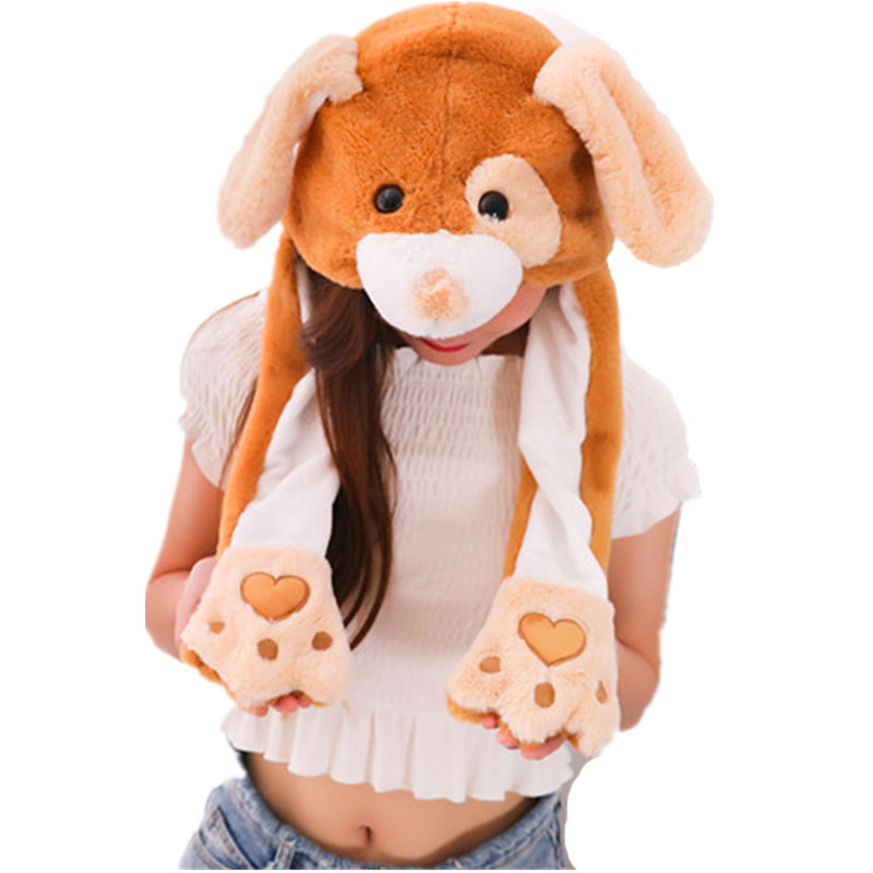 Eye Dog Active white Cartoon Animal Plush Dynamic Hat Children's Winter Warm Cap Combined Scarf and Glove