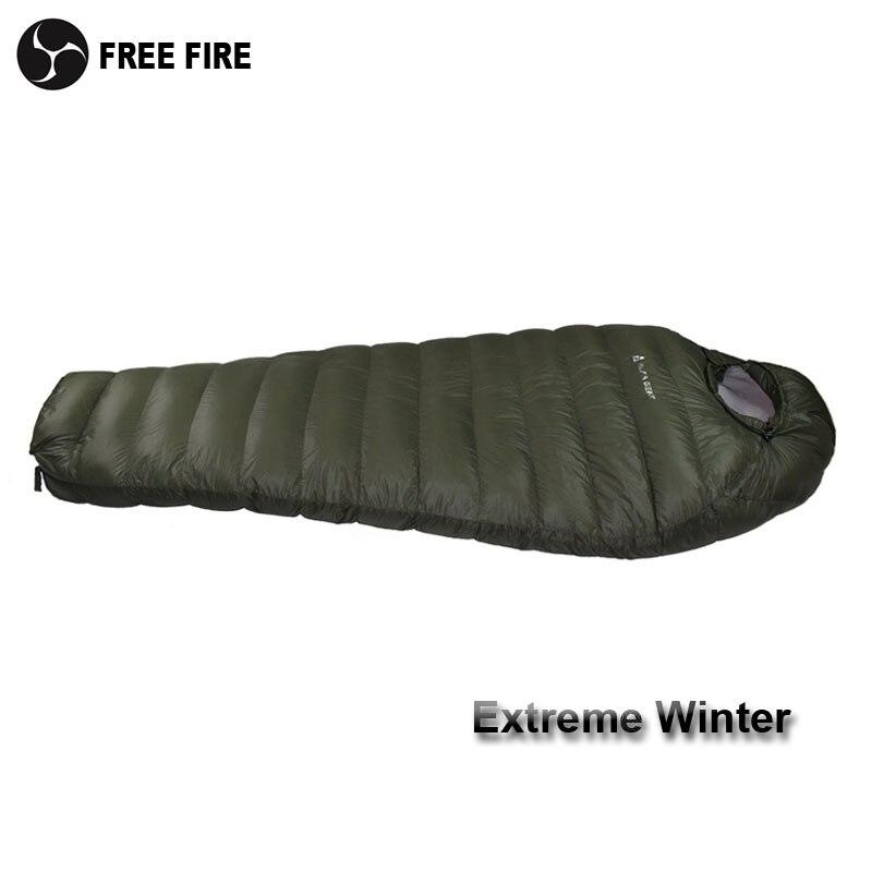 Sac de couchage d'hiver sac de couchage de température froide pour l'hiver, armée vert canard vers le bas remplissant 1kg 1.5kg vers le bas sac de couchage