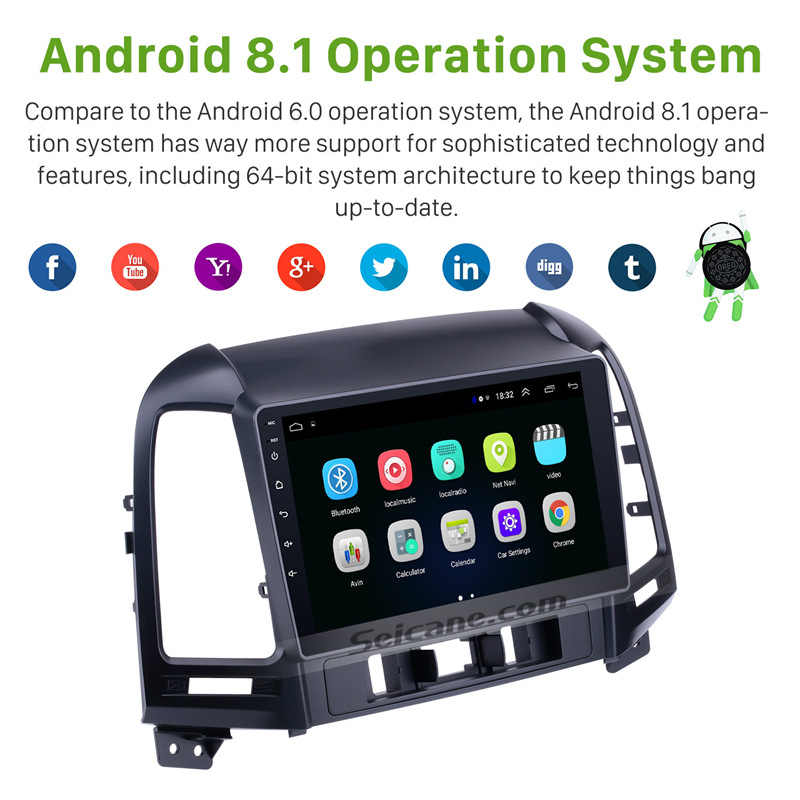 Seicane 2 din Android Dvd-speler Bluetooth GPS Navigatie Radio voor 2005 2006 2007 2008 2009 2010 2011 2012 HYUNDAI SANTA FE