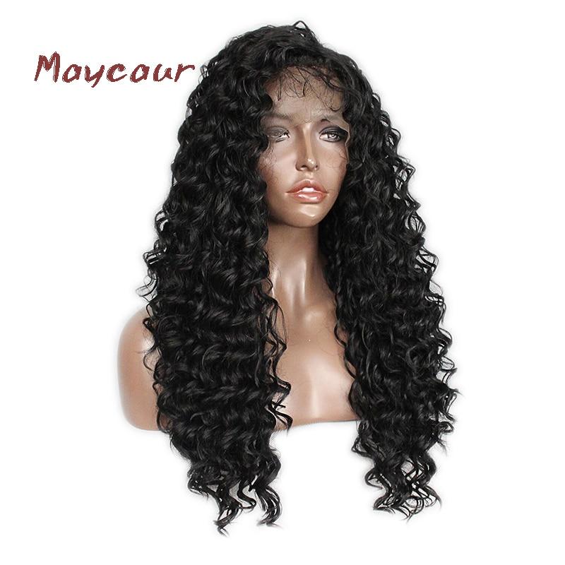 Långa Curly Lace Front Paryk med Baby Hår Svart Färg Syntetiska - Syntetiskt hår