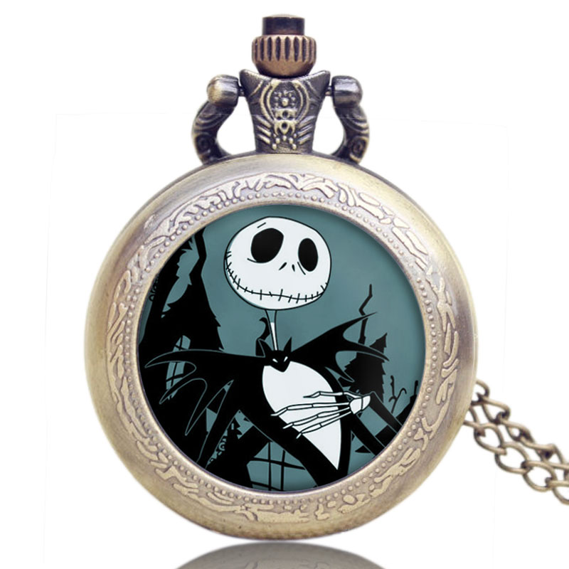 The Nightmare Before Christmas Quartz Pocket Watch Retro Jack Halloween Pendant With Necklace Gifts For Men Women Reloj Mujer