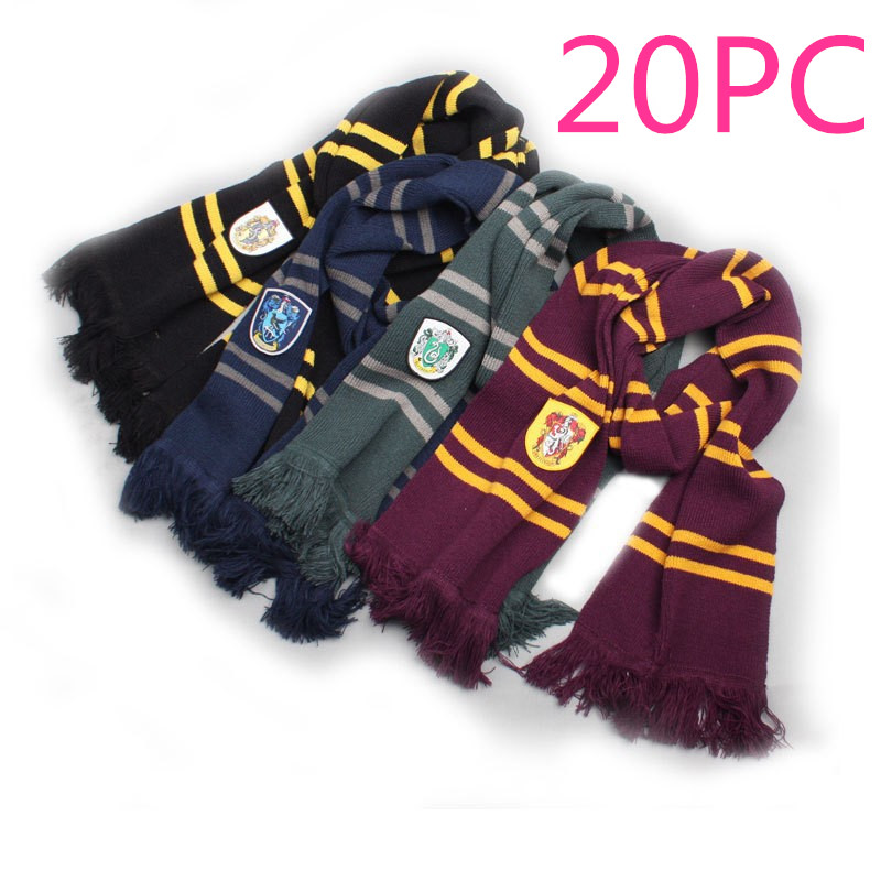 20 PCS LOT Hats Ties Scarves Gryffindor Slytherin Hufflepuff Ravenclaw Caps Scarf Cosplay Hermione Men Boys