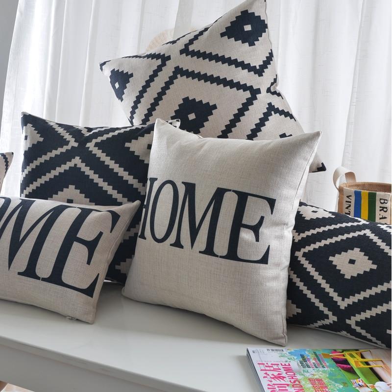 Наволочка с геометрическим рисунком, черный, белый, скандинавский домашний декор, Наволочка на заказ, декоративные подушки 30*50 см, Прямая по...