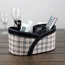 Quality leather desktop storage box remote control  small cosmetic miscellaneously shelf
