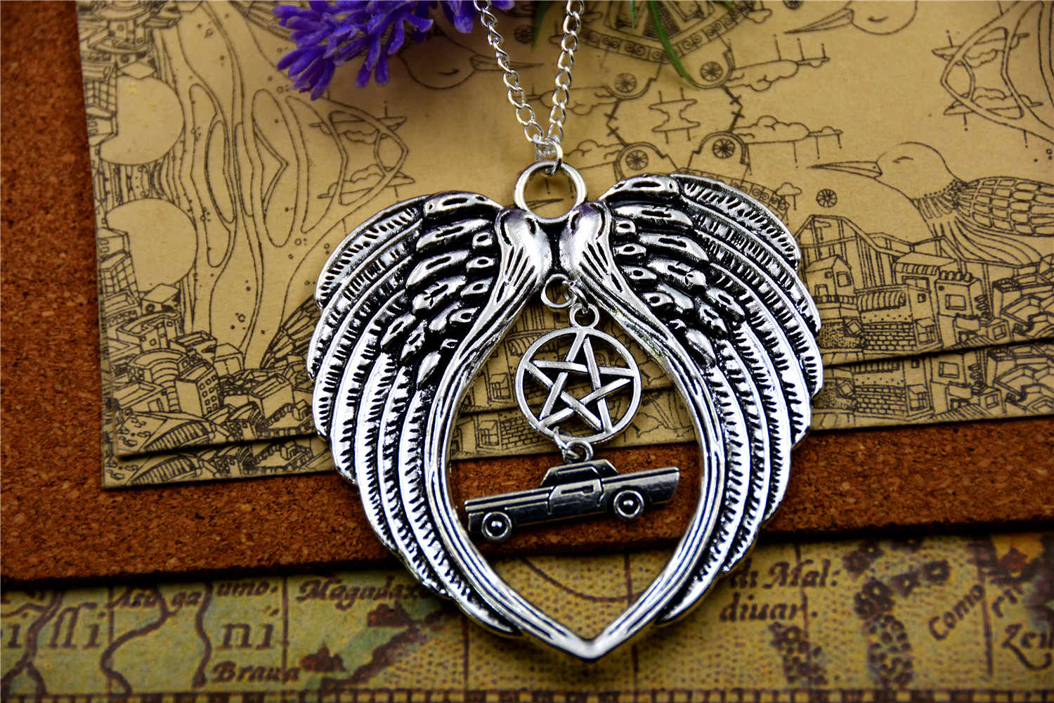 Hot sale Supernatural inspired bracelet  TV series Deluxe Fandom  charm pendant leather/silver plated necklace