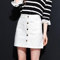 Jeans branco busto curto de todos os coincidir com uma linha saia feminina primavera 2018 de cintura alta feminino