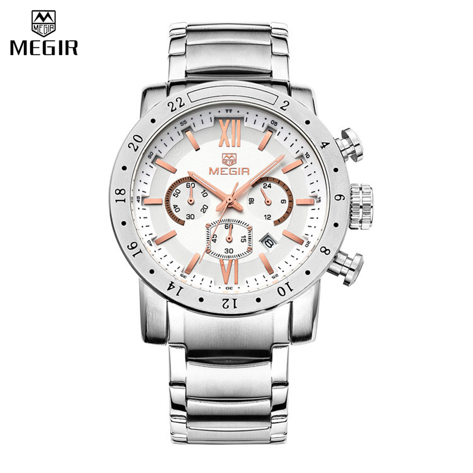MEGIR Mens Watches Top Brand Luxury Stainless steel Watches Military Chronograph 6 Hands 24 Hours Mens Watches Relogio MasculinoMEGIR Mens Watches Top Brand Luxury Stainless steel Watches Military Chronograph 6 Hands 24 Hours Mens Watches Relogio Masculino