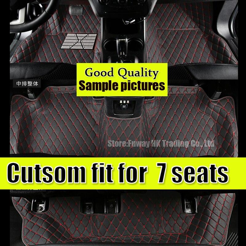 Tapis de sol de voiture personnalisés pour ford explorer 7 sièges 2006-2012 an en cuir imperméable à l'eau de voiture tapis en cuir revêtements anti-dérapant autocollants
