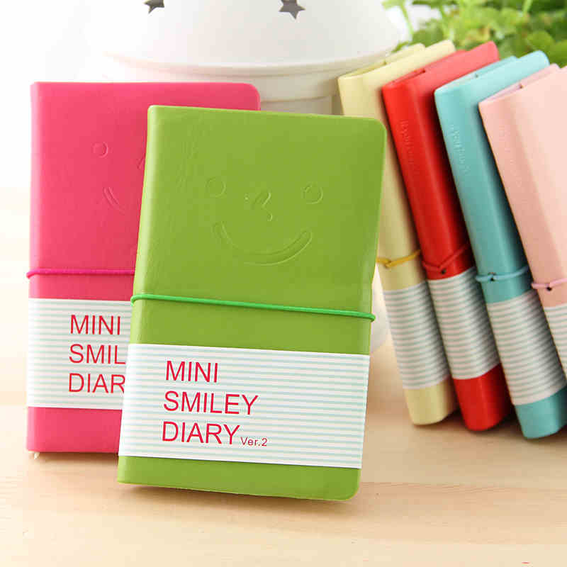 Hot Smiley School Notebook Paper 96 Sheets Cute DiaryCandy Color Mini Notebook Notepad School Supplies Wholesale