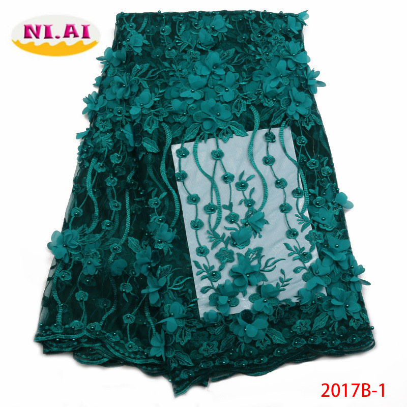 African 3D Beaded Lace Fabric 2018 High Quality Fashion French Lace Fabric Nigerian Lace Fabric Bridal