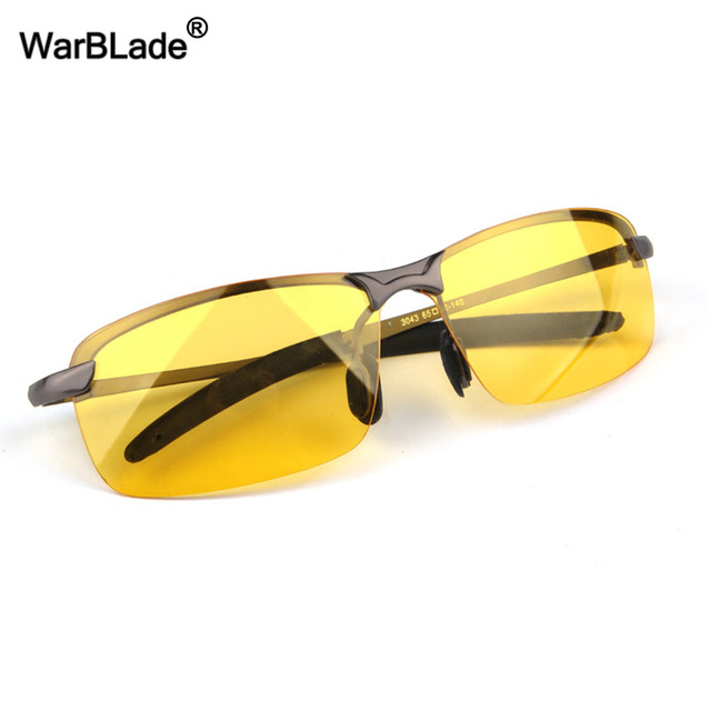 WarBLade New Men's Polarized Driving Sunglasses Yellow Lense Night Vision Driving Glasses Polaroid Goggles Reduce Glare For Men