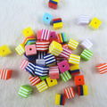 8*8mm/10*10mm 50pcs Mixed color Cube Square Acrylic Stripe Resin Beads DIY Jewelry Findings RE-11