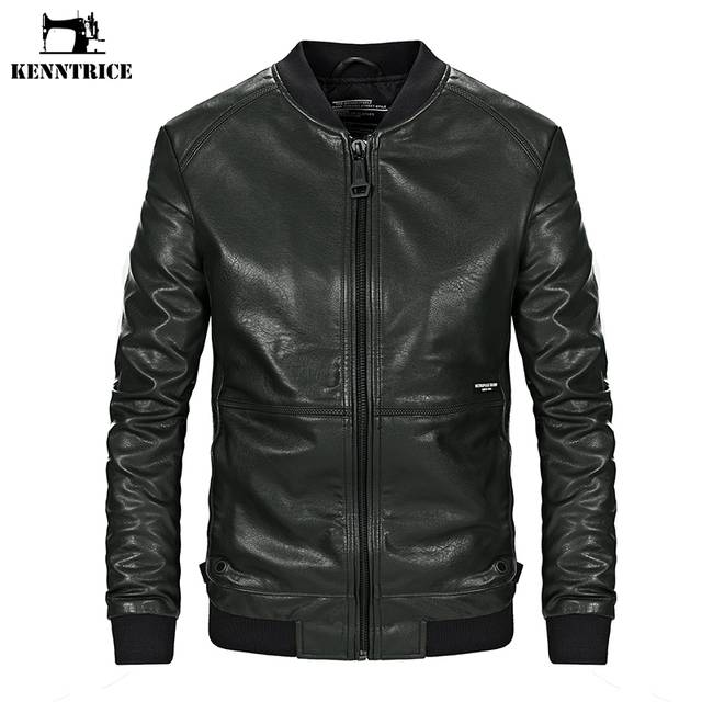 e7caf4c51 KENNTRICE Military Green Slim Fit Male Jacket De Leather Motorcycle Jacket  Motorcycle Men's Coat With Front Pocket