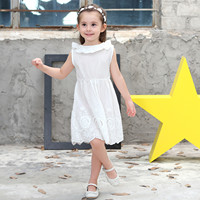 LYONAVA Summer Girls Dress Children Spring Clothing Kid Clothes Cotton Lace White Bow Sleevess Casual