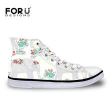 c8fecdc12b FORUDESIGNS Jardim Animal Print Mulheres Calçados Vulcanizados Sapatos de  Conforto High top Sapatas de Lona Tênis