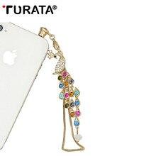 Наушники TURATA с длинной цепочкой и большим павлином, заглушка для смартфона, Пылезащитная Заглушка с бриллиантами, заглушка для наушников для iPhone 7, Xiaomi, samsung