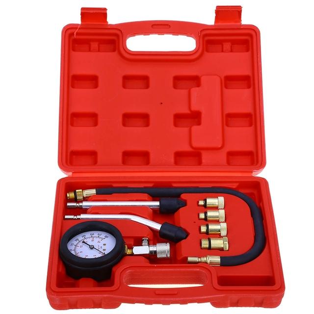 Kit De Ferramentas De Diagnóstico do carro 9 PCS Gasolina Motor A Gasolina Do Cilindro Compressor Medidor de Teste do Medidor de Pressão de Compressão Tester Teste de Vazamento