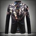 Plus size hot men outono inverno flores forma de impressão dos homens slim casuais plana blazer flannelette masculino cantor terno top outerwear