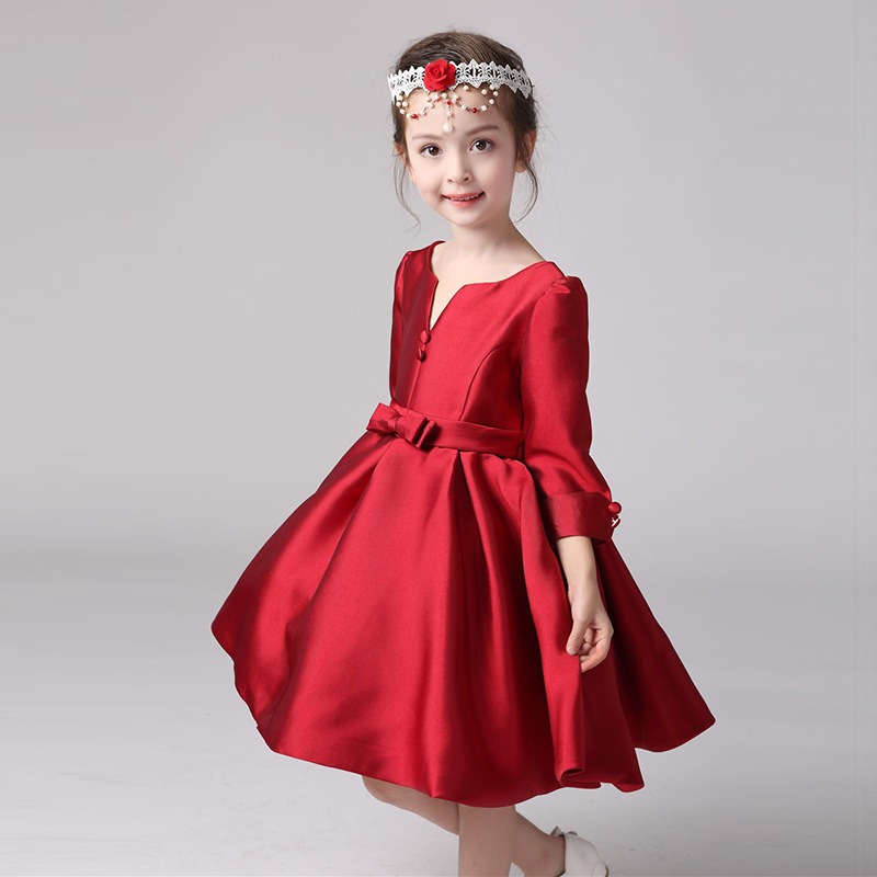 Girl Elegant Princess Flower Formal Dress For Gilrs Wine Red Vestidos Kids Clothes Party Clothing For Girls 2017 New SKF164002 brand high quality multi layers formal party girl dress children white princess flower girl vestidos 2016 kids clothes akf164027
