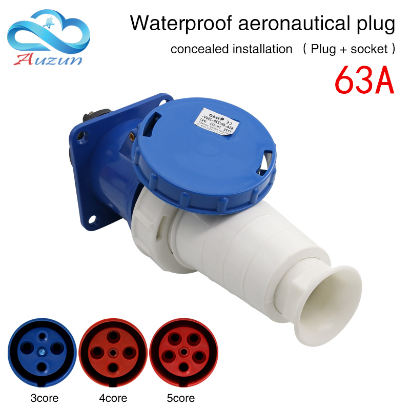 Waterproof industrial aviation plug socket connector 3 core 4 core 5 core 63A dark installation aviation docking new total english starter workbook with key cd