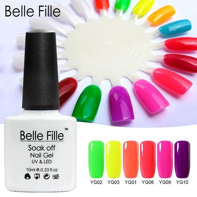 Belle Fille מניקור לכה לכה לק ג 'ל UV לספוג את ניאון פולני ג' ל ציפורניים UV ג 'ל אמנות Vernis קבוע למחצה