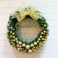 Christmas Wreath Door Wall Pendant Ornament Garland 30cm Bowknot New Year Gift Party Favor Christmas Tree