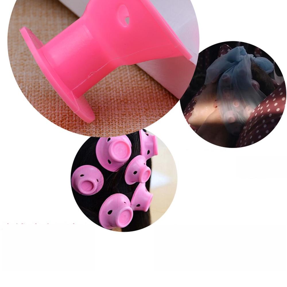 Купить с кэшбэком 10Pcs Soft Rubber Pink Magic Hair Care Rollers Silicone Hair Curler No Heat Mushroom Hairstyle Sleeping Bell Hair Styling Tool