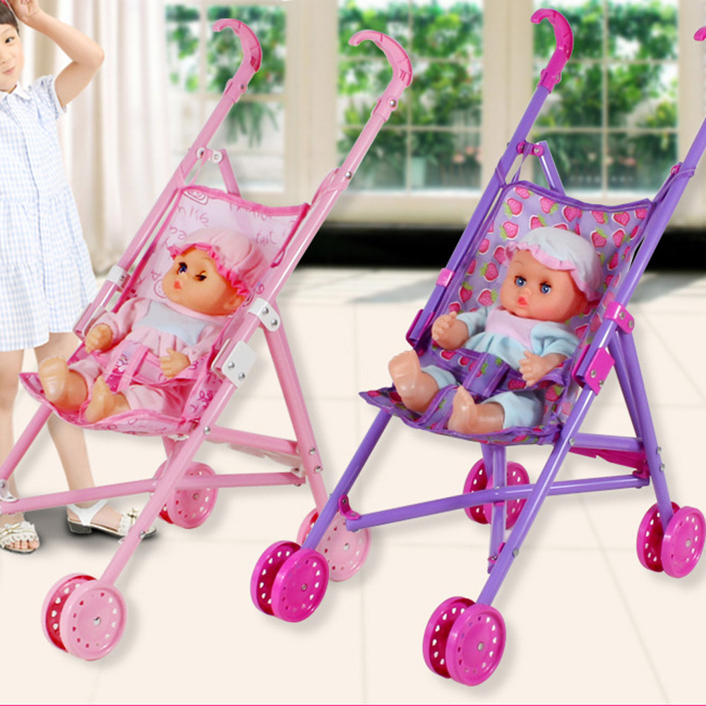 My First Doll Stroller&Baby Toy Precious Toys Foldable With Hood Gift For Girls Supermart Safe Baby Dolls Carriages Random Color ...