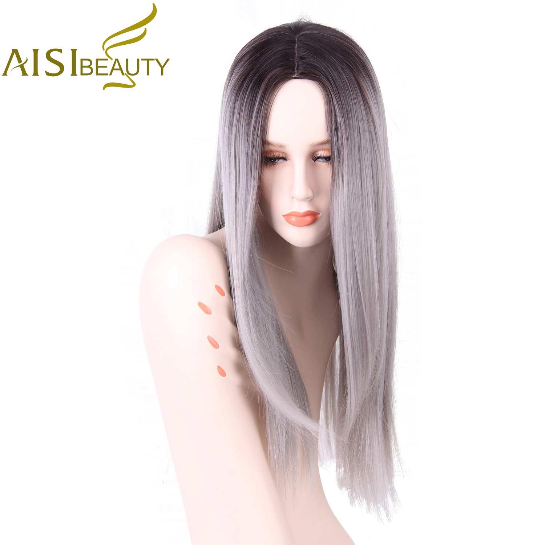 AISI BEAUTÉ Longue Ligne Droite Gris Rouge Rose Ombre Noir Synthétique Perruques pour Femmes cosplay cheveux livraison gratuite Résistant À La Chaleur 26